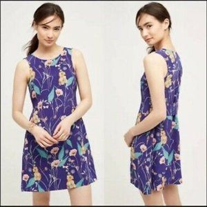Anthropologie Purple Floral A-Line, Tank Dress